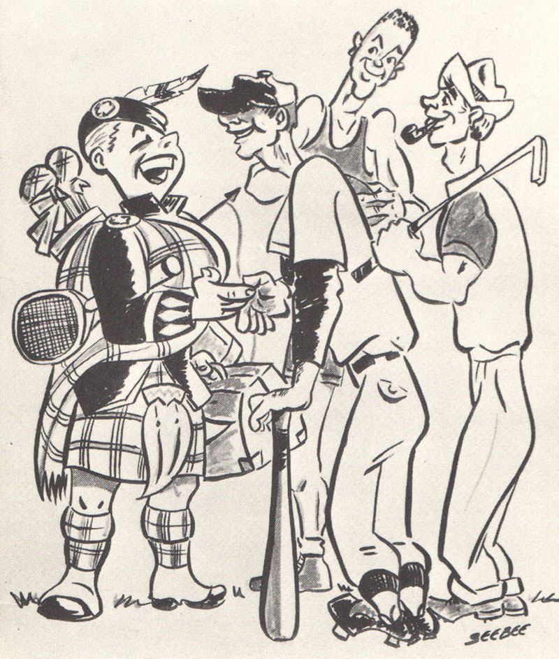 An image from 1959-60 showing the Highlander mascot shaking hands with a baseball player, a golfer, and a basketball player.