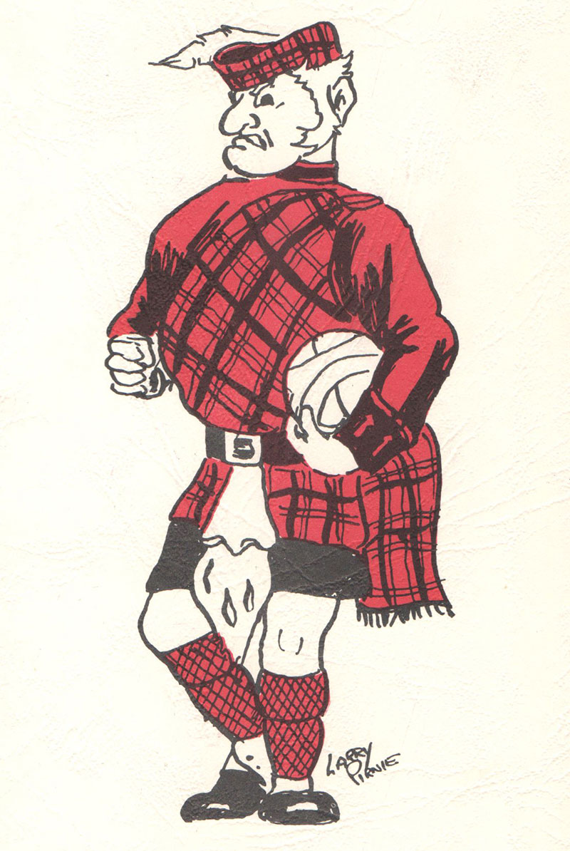 An image from 1961-62 showing the Highlander mascot holding a basketball under one arm.