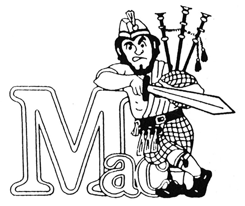 "An image showing the Highlander mascot holding a sword and leaning against a block of text that reads ""Mac""."